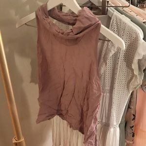 Cropped Mauve Turtleneck Tank with Open Back